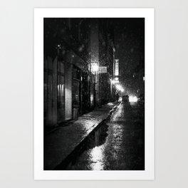 Nightlife district with snowfall № V Art Print