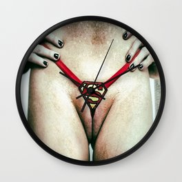 Superman is Superwoman : Super Power Pussy in Thong Panties Wall Clock
