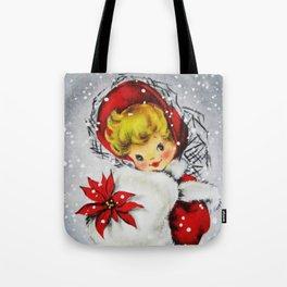 Vintage Christmas Girl & Poinsettia Tote Bag