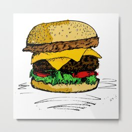 Tasty Hamburger od Awesomnes Metal Print