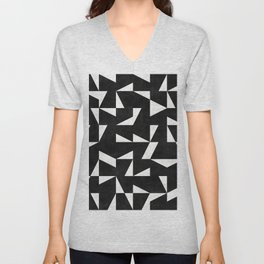 Mid-Century Modern Pattern No.10 - Black and White Concrete Unisex V-Neck
