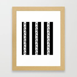 Stripes and Thorny Vines by Dark Decors - Black and Whites Framed Art Print