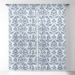 Feuille Damask Pattern Dark Blue on White Sheer Curtain