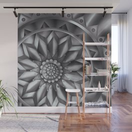 Black and White Minimalist Mandala Design Wall Mural