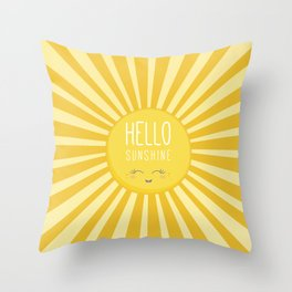 KAWAII SKY - happy smiling sun - hello sunshine quote Throw Pillow