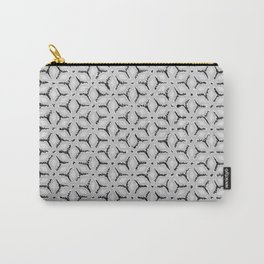 Geometric Florals Black & White Carry-All Pouch