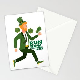 Run Now Shamrock Later St Patricks Day Runner Funny Stationery Cards