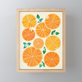 Orange Slices With Blossoms Framed Mini Art Print