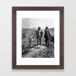 Teddy Roosevelt and John Muir - Glacier Point Yosemite Valley - 1903 Framed Art Print