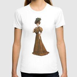 Woman in yellow dress Edwardian Era in Fashion T-shirt