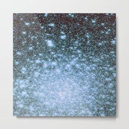 Steel Blue Ombre Stars Metal Print