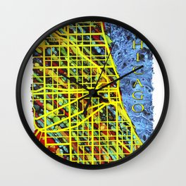 Unique Chicago Illinois Street Map by Mark Compton Wall Clock