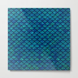 Mermaid scales iridescent sparkle Metal Print