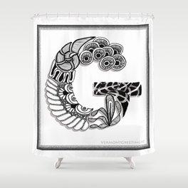 Zentangle G Monogram Alphabet Initials Shower Curtain