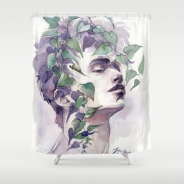 A man with ivy, watercolor portrait Shower Curtain