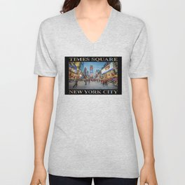 Times Square Sparkle (with type on black) Unisex V-Neck