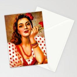 Mexican Sevillana Calendar Girl by Jesus Helguera Stationery Cards