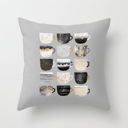 Pretty Coffe Cups 3 - Grey Throw Pillow