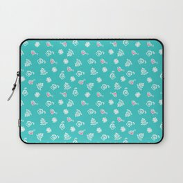 pattern with snowflakes and bullfinches. New Year's background Laptop Sleeve
