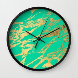 Gold Bright Teal Marble Stone Modern Pattern Wall Clock
