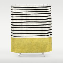 Gold x Stripes Shower Curtain