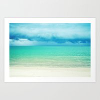 Blue Turquoise Tropical Sandy Beach Art Print