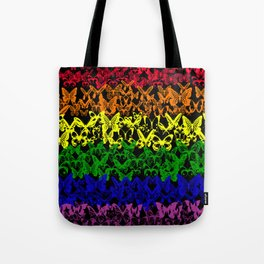 Numerous colorful butterflies forming the banner of the LGBT community Tote Bag