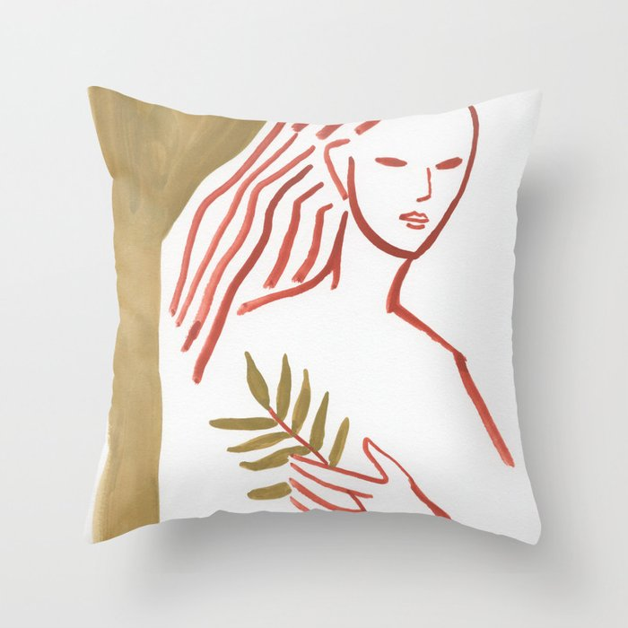 Leaves in hand (minimal portrait lady) Throw Pillow