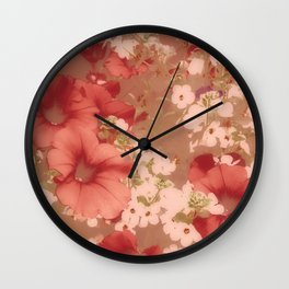 Red Petunias With Sweet White Flowers Wall Clock