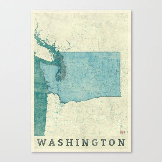 Washington State Map Blue Vintage Canvas Print