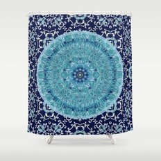 Boho Vine Leaf Mandala Shower Curtain