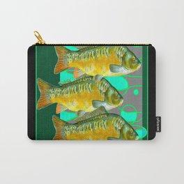 MODERN ART GREEN & OCHER DECORATIVE THREE FISH Carry-All Pouch