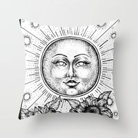 tarot Throw Pillows featuring Sun Tarot by Corinne Elyse