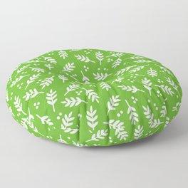 Christmas Pattern, Whimsical Leaves, Green Floor Pillow