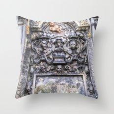 Ancient Grave Stone Greyfriars Kirk Graveyard Throw Pillow