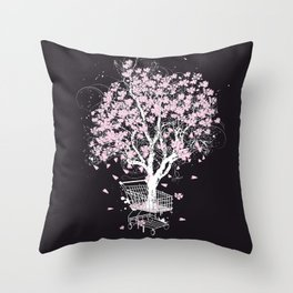Blooming tree in shopping cart Throw Pillow