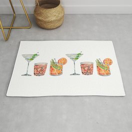 Classic Cocktails  – 1960s Watercolor Lineup Rug