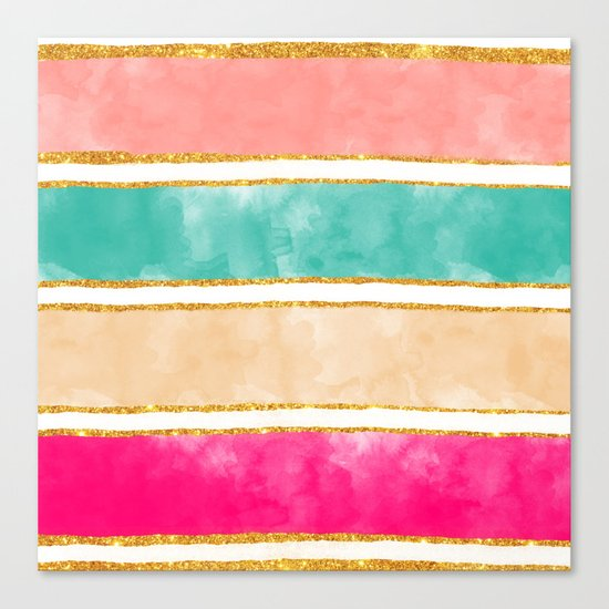 Modern Stripes Pink Red Watercolor Gold Glitter Canvas Print