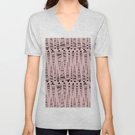 Doodles Tree Vector Pattern Pastel Pink Unisex V-Neck