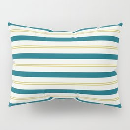 Off White, Dark Yellow and Tropical Dark Teal Inspired by Sherwin Williams 2020 Trending Color Oceanside SW6496 Stripes Thick and Thin Horizontal Line Pattern 3 Pillow Sham