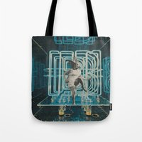 neon Tote Bags featuring Neon by Imogen Art