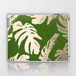 Palm Leaves White Gold Sands on Jungle Green Laptop & iPad Skin