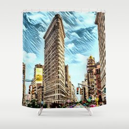 Flatiron Building NYC Landscape Painting by Jeanpaul Ferro Shower Curtain