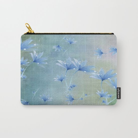 Fantasy Floating Blue Flowers Abstract Carry-All Pouch