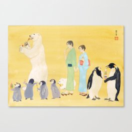 Penguin and Polar Bear in JAPAN Canvas Print