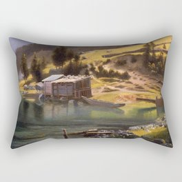 Fishing And Hunting Camp Loring Alaska 1889 By Albert Bierstadt | Reproduction Painting Rectangular Pillow