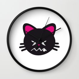 One Tooth Black Cat Confounded Kitten Face Wall Clock