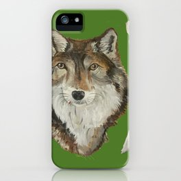 Lone Wolf on Green iPhone Case