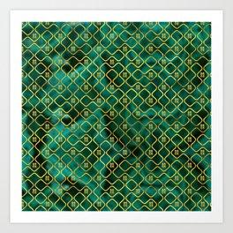 Gold Chinese Double Happiness Symbol pattern on malachite Art Print