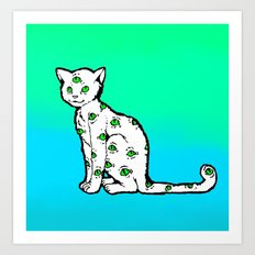 SCAREDY CAT (Cool Colors) Art Print